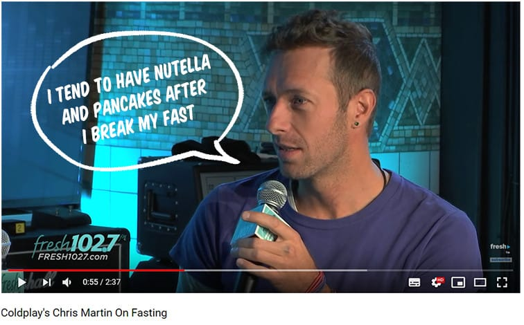 Coldplay solist Chris Martin intermittent fasting