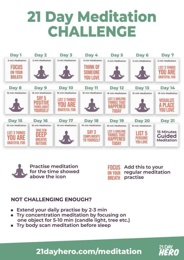 21 Day Meditation Challenge Daily Plan