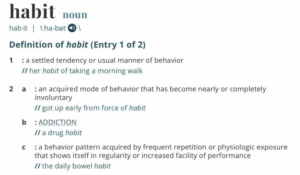 Habit dictionary definition